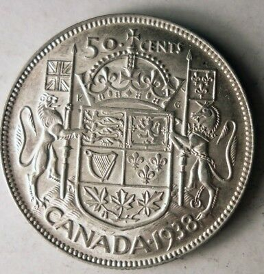 1938 CANADA 50 CENTS - AU - Great High Value Silver Coin - Lot #J12