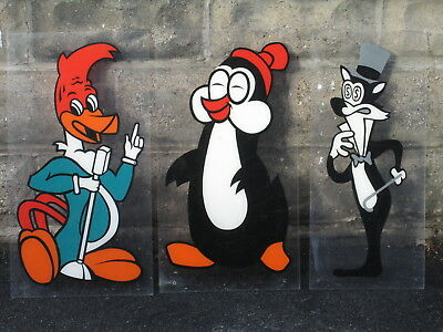 (3) 2' 1960's Cartoon Booth Posters on Lucite, Woody Woodpecker & Chilly Willy