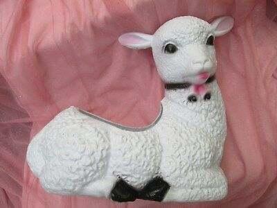 White Lamb Sheep Planter Plastic Blow Mold Yard Decor Easter