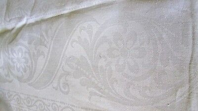 "antique linen dbl damask tablecloth 86 x 72"" bands of ribbons/swirls, good cond."