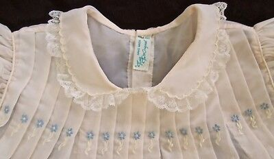 vintage Tiny Tots toddler dress 1-2? pale pink nylon, blue embroidery+white lace