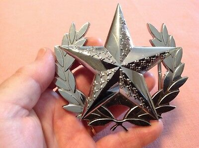 """SALE!~3.75"""" X 3.5"""" Silver Tone Metal Belt Buckle~Olive Branch~Star~Shiny~EXC!"""