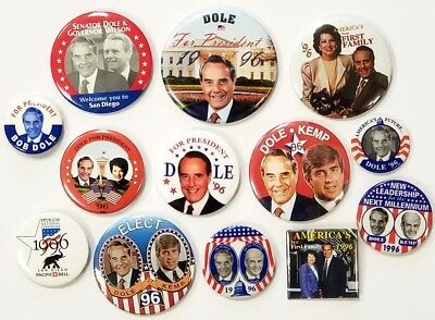 1996 Collection of 13 Different Bob Dole Campaign Buttons