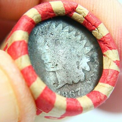 Better Date 1867 Indian Cent On End of 50 Coin Wheat Roll 4144