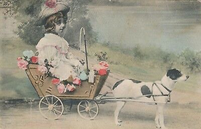 c1908 Child in Cart Pulled by Dog Hand Colored European Postcard