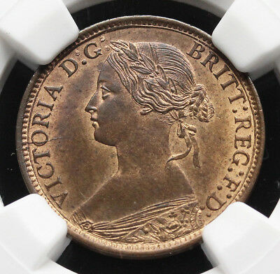 GREAT BRITAIN. Queen Victoria Farthing, 1868, NGC MS64 RB