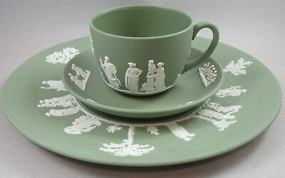 Signed Wedgwood Sage Green Jasperware Full Sized Trio - Cup Saucer and Plate