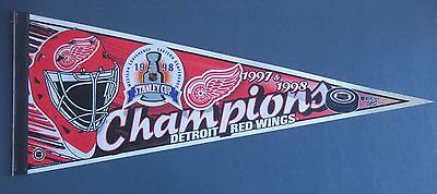 DETROIT RED WINGS 1997   1998 STANLEY CUP CHAMPIONS PENNANT 12