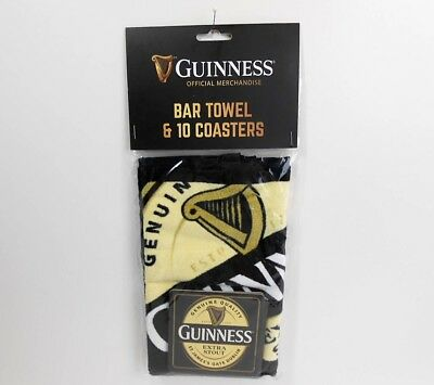 Guiness Bar Towel & 10 Coasters, New Gift Pack