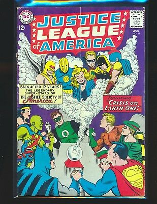 Justice League of America # 21 G/VG Cond cover detach from top staple sub crease