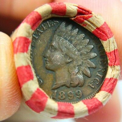 1899 Full Liberty Indian Cent On End of 50 Coin Wheat Roll 4168