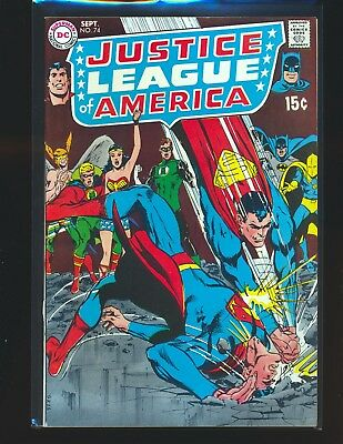 Justice League of America # 74 qualified VF Cond cover detached from bottom stpl