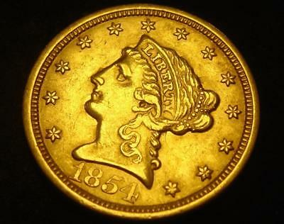 1854 $2 1/2 Liberty Head Gold Coin Quarter Eagle Clashed Dies!