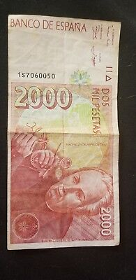 Money Spain 2000 Pesetas 1992 (1996) Banco De Espana  Pick # 164 Value $70