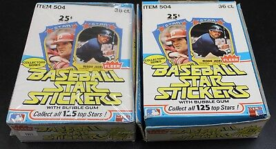 LOT (x2) 1981 Fleer Baseball Star Stickers WAX BOXES unopened