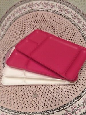 Tupperware Dining Tray Set 4 Red White Divided Plates Potluck Tv