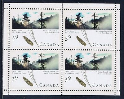 Canada #1284a(1) 1990 39 cent GREAT LAKES-ST. LAWRENCE FOREST PANE/4 MNH $12.50