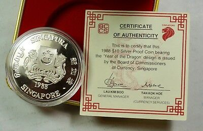 1988 Singapore $10 Silver – Lunar Year of the Dragon - #132