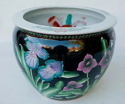 """VINTAGE CHINESE  FLORAL DESIGN FISH BOWL PLANTER HAND PAINTED 9 1/2""""x 12"""""""