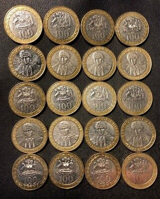 Old Chile Coin Lot - 100 PESOS - 20 Bi-Metal Coins - Uncommon - Lot #J13