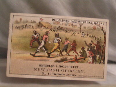 Trade Card Decolored Race In Topeka,ks  From Reynolds & Montgomery 11 Vincennes