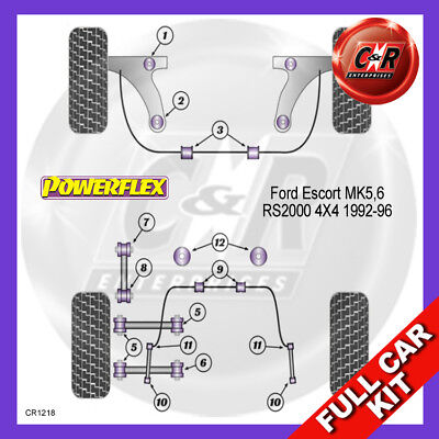 Ford Escort MK5, 6 RS2000 4X4 92-96 Frnt Wishbone Bushes 46mm Powerflex Full Kit