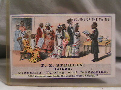 Trade Card Wedding Of The Twins From F.x. Stehlin Chicago,il