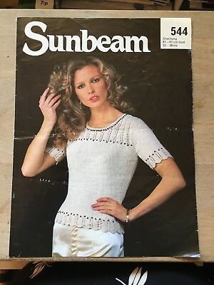 """Vintage Knitting Pattern, Sequinned Short Sleeved Sweater, 4ply, 32-38"""" Bust"""