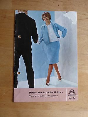 """Vintage P&B 50s Knitting Pattern - 9042 - Classic Suit & Sleeveless Top 34-39"""""""
