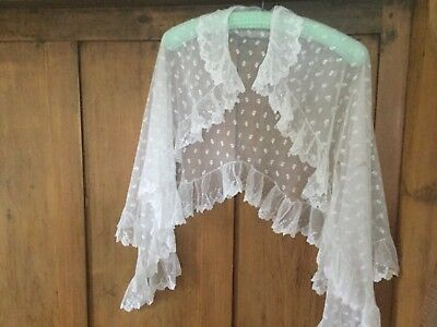 Antique Victorian machine lace cape with collar.