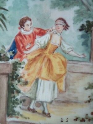 Late 19thc miniature painting, BLIND MAN'S BLUFF, monogrammed RS, wooden frame.