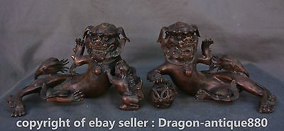 "10""Chinese Purple Bronze Fengshui Foo Fu Dog Guardion Lion Baby Ball Pair Statue"