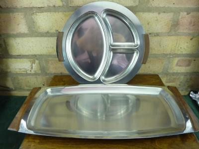 2 vintage stainless steel mid century serving trays Lundtofte