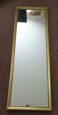 Vintage 20th Century Tall/Long Wall Mirror in Gold Coloured Wooden Frame