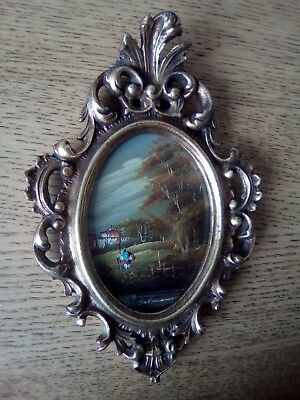 VINTAGE 1950s Italian miniature oil painting in a decorative gilt frame.