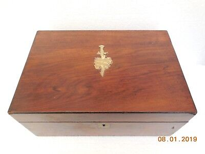 antique walnut writing slope box  14 by 9 x  6 inch tall