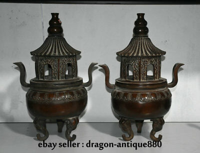 "18.8"" Old Chinese Purple Bronze Dynasty Palace Tower Incense Burner Censer Pair"