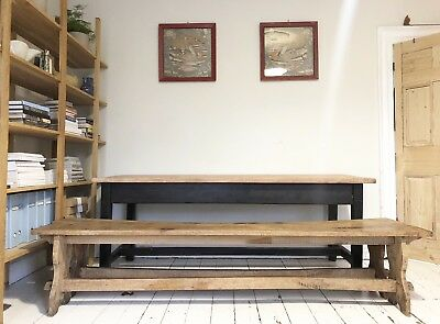 Antique Solid English Oak Large Refectory benches (pair)