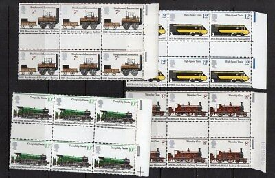 GB, QE2, 1975, 'Trains', in umounted mint gutter blocks  of 6.