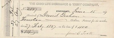1847  Antique Receipt  Cincinnati, Ohio