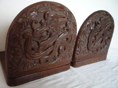 Pair Well Carved Vintage Chinese Dragon Book Ends Gothic Design Wood