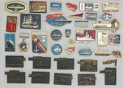 AR.063) RUSSIA USSR navy and maritime themed lapel pins and badges mixed lot