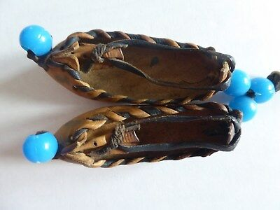 """Vintage Miniature Leather Moccasins Pair 3"""" Hanging with Beads"""
