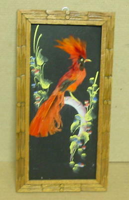 1954 Mexico Folk Art Real Feather Bird Picture with Hand Carved Frame
