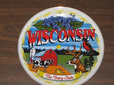 8 Inch Authentic Wisconsin Souvenir Collectible Plate With Hanger  Brand New