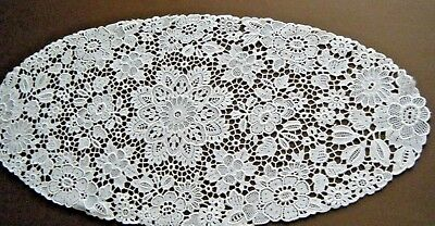 "Old Vtg Table Runner Scarf Schiffli Guipure Lace Oval White Fine Europe 24""X11"""