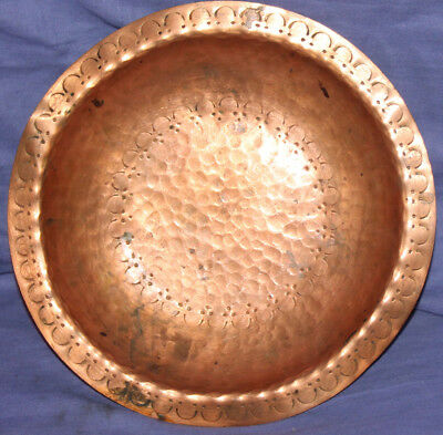 Vintage hand crafted copper pedestal bowl platter