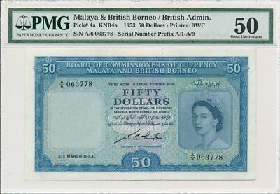 Board of Commissioners of Currency Malaya & British Borneo  $50 1953  PCGS  50