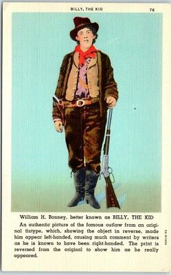 """Vintage New Mexico Postcard """"BILLY THE KID - Famous Outlaw"""" Linen 1940s Unused"""