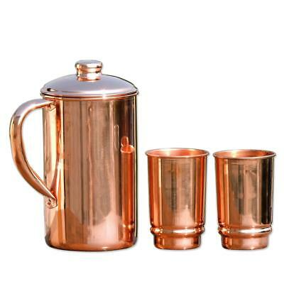 Pure Copper Water Jug With 2 Copper Tumbler Copper Pitcher and Tumbler Ayurveda